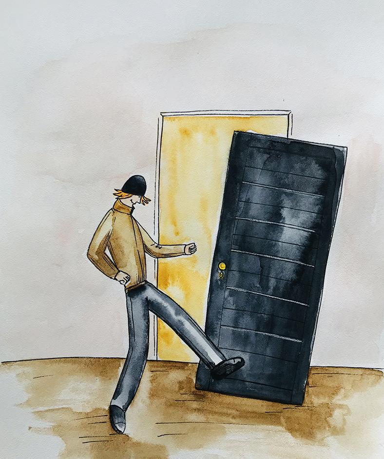 jis stumtelėjo duris purvinu batu