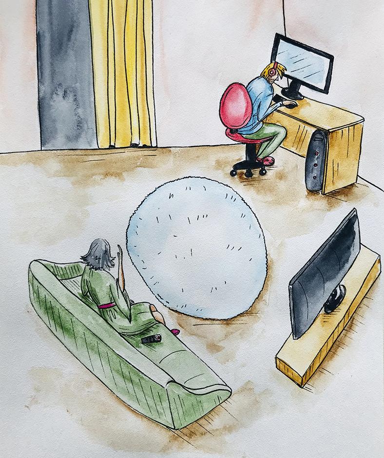 Uošvė jungė televizorių visu garsu
